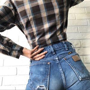 Roper brown plaid western long sleeve shirt top S